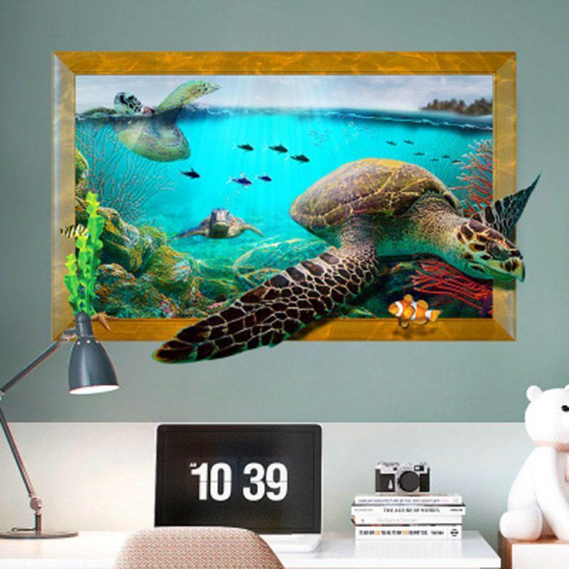 ... Gefälschte Bilderrahmen Unterwasserwelt Schildkröte Wandaufkleber  Steuern Dekor 3D Simulation Tapete Poster Kunst Wohnzimmer Schlafzimmer Wand  Grafik ...
