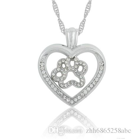 10pcs/lot Dog Cat Paw Print in Cut Out Heart Crystal Paved Pendant Necklace Love Animal Pet Jewelry for Women And Girls