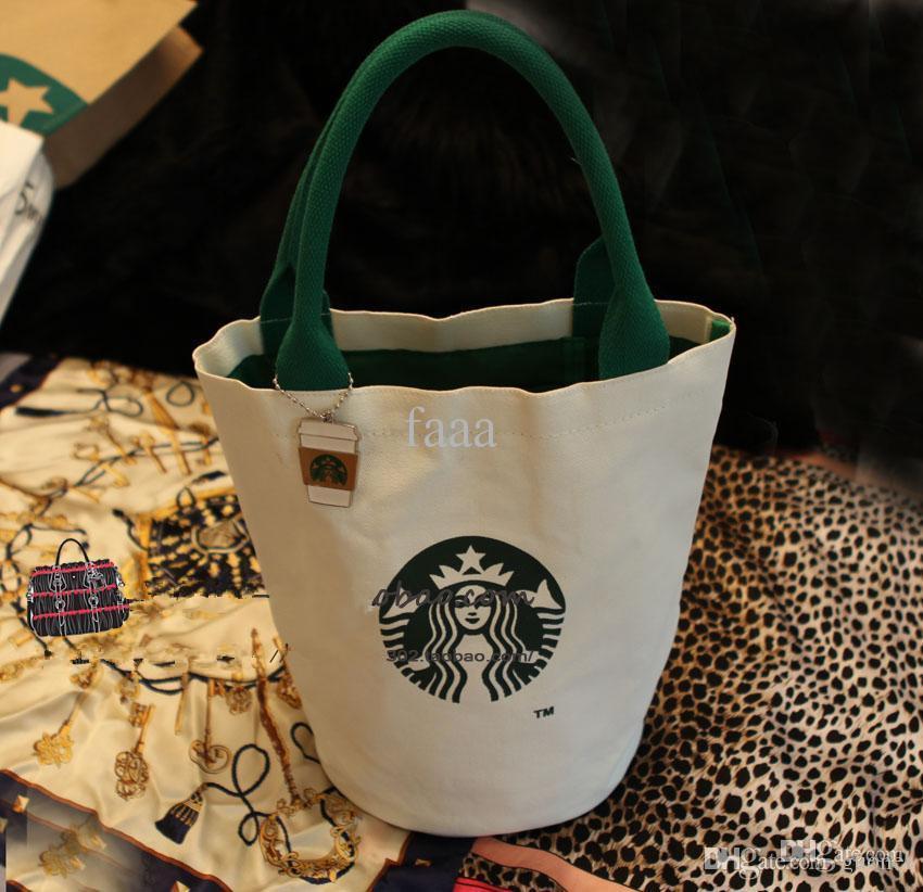 جديد أزياء المرأة الشهيرة ستاربكس لطيف حقيبة تسوق السيدات أزياء المصممين غداء حقيبة شحن مجاني جودة عالية قماش حمل
