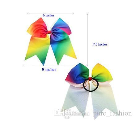 7.5INCH Larger Rainbow Cheer Bows Hair Ties Cheerleading Pony Tail Holder Elastic Head Loop For Girls Infant Teens Uniform Rainbow 10Piece