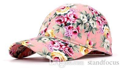Stand Focus Women Cotton Floral Flower Basketball Baseball Hat Cap Adjustable