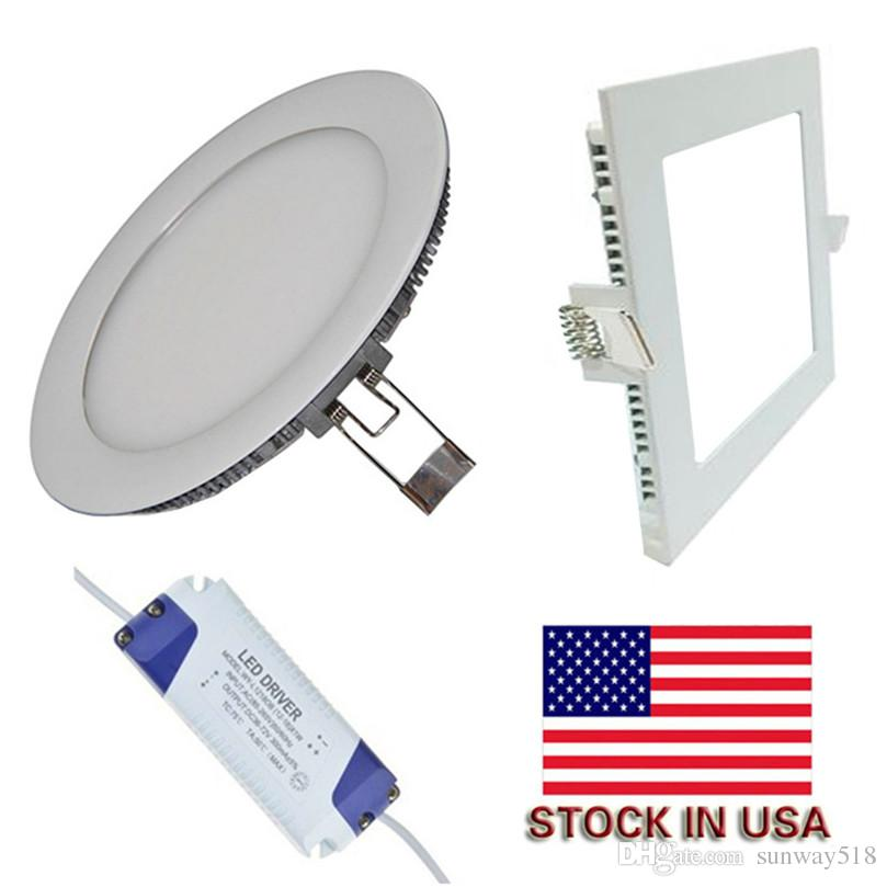 Dimmable 9W/12W/15W/18W/21W Led Recessed Downlights Lamp Warm/Natural/Cool White Super-Thin Led Panel Lights Round/Square US Stock