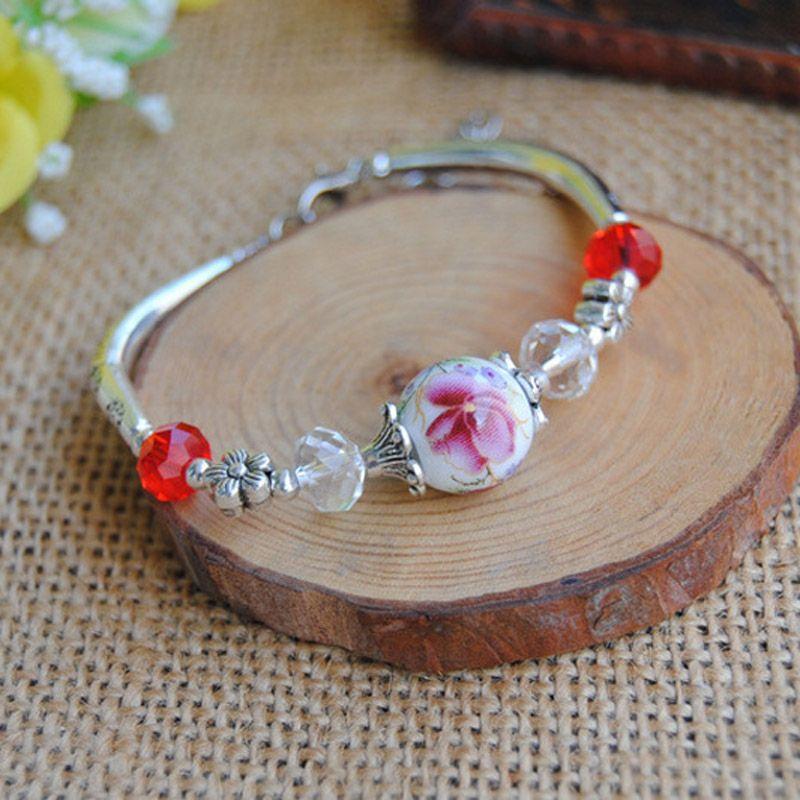 Original New Vintage flower Ceramics beads GirlS Bracelet Good Lucky Bracelet cute Lover Bracelet Lovers Lucky Jewelry Women christmas Gift