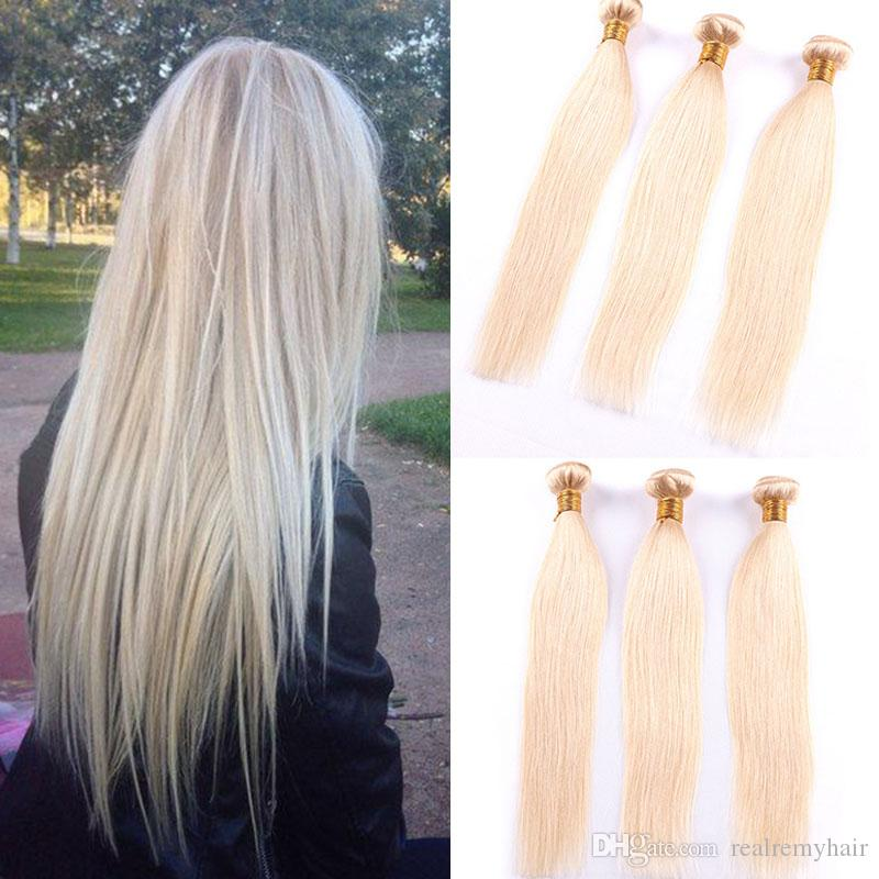 Colored Brazilian Remy Human Hair Weave Straight 613# Blonde Human Hair 3 Bundles Cheap Brazilian Human Hair Extensions Deals Vendors