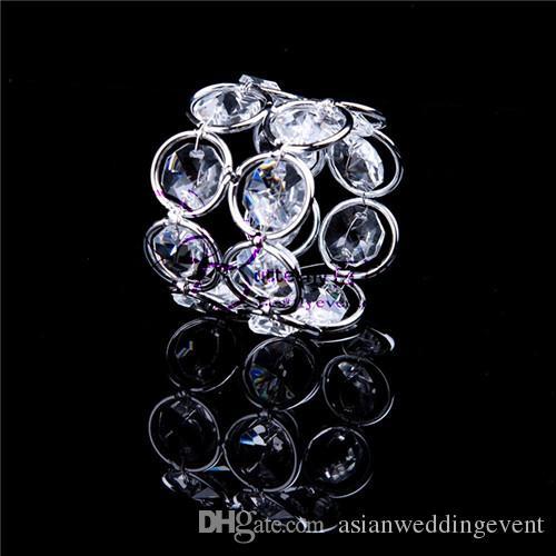 Silver Plated Napkin Rings Elegant Double Round Crystal Napkin Holder Wedding Decoration Napkin Rings