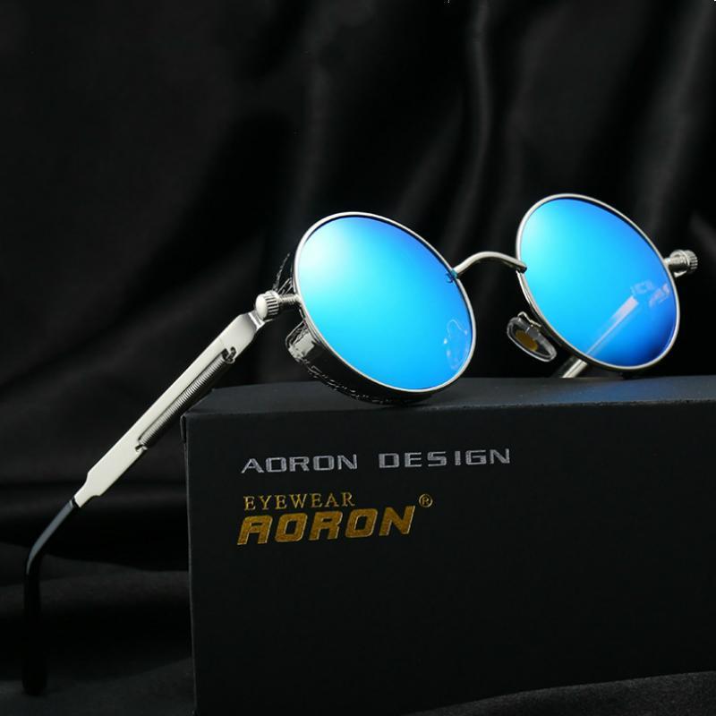 Óculos de sol do sol de Steampunk dos vidros com óculos de sol espelhados do revestimento Óculos de sol redondos Homens gótico da marca retro e óculos polarized do vintage do googgle