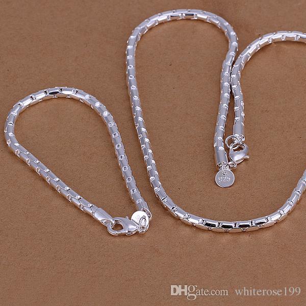 Al por mayor - el precio más bajo regalo de Navidad de plata de ley 925 Collar de moda + Pendientes conjunto S079
