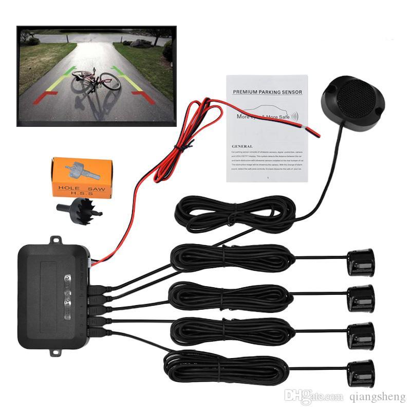 10pcs / lot Buzzer Capteurs de stationnement 22mm 4 Kit de capteur de stationnement de voiture Reverse Backup Radar Alerte sonore Système d'indicateur via DHL