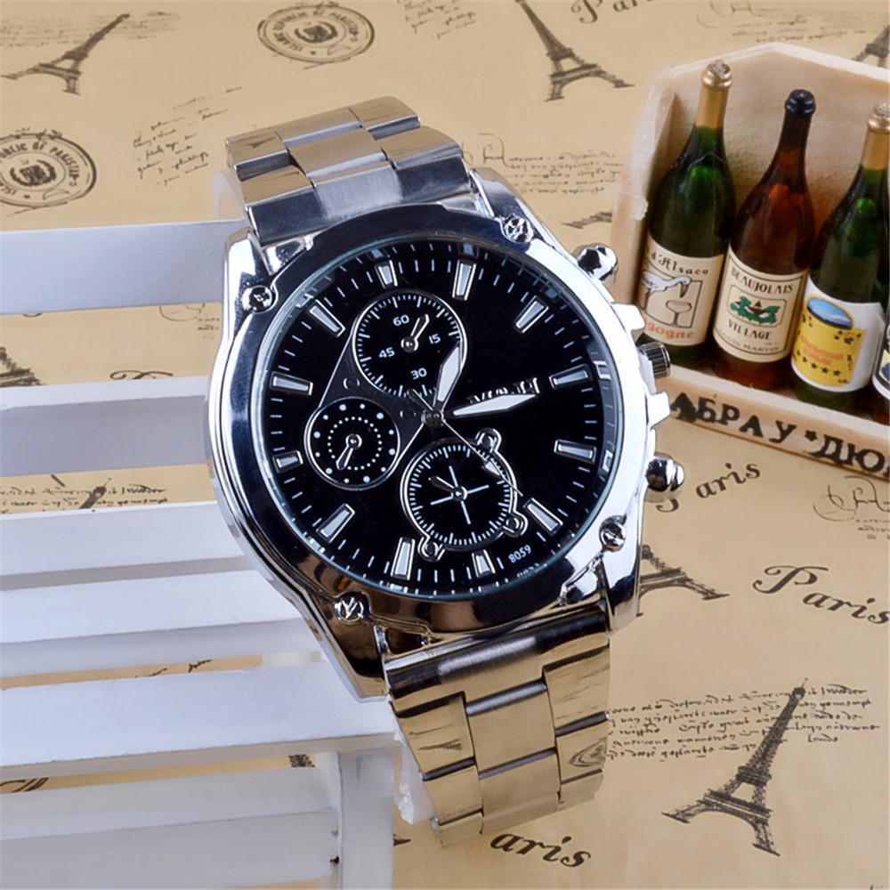 Atacado- CLAUDIA Nova Moda Mens Relógios Negócios de Aço Inoxidável Banda Três Olhos Esporte Máquinas De Quartzo Relógio Relógio relogio masculino