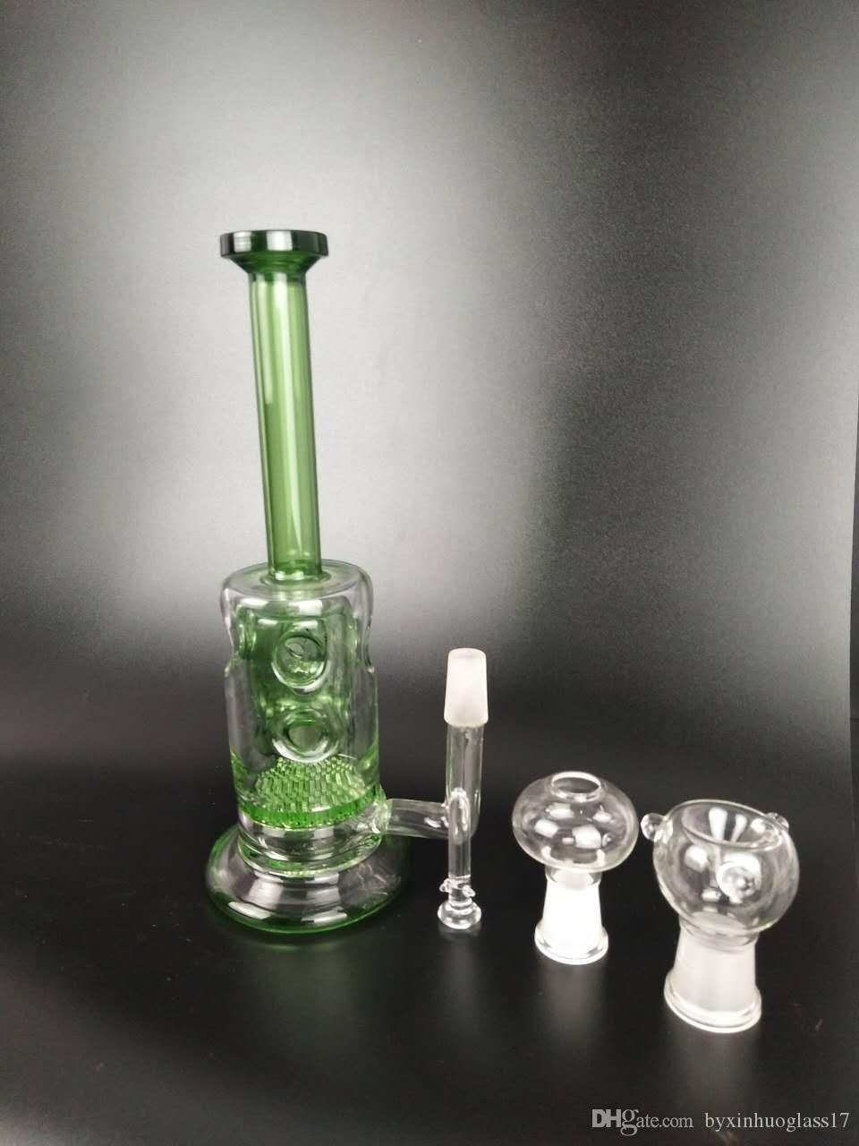 20 cm grün 6 Loch Filterglas Shisha, Glasrohr, Glasrohr 5 cm Durchmesser, 5 mm dick, Gelenkgröße: 14mm