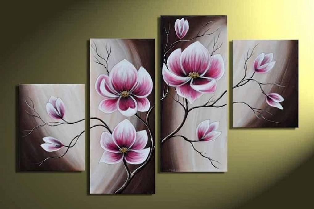 Ручная Роспись Картины Маслом Подарок Розовые Цветы 4 Панели Дерева Внутри Обрамлены Висячие Украшения Стены