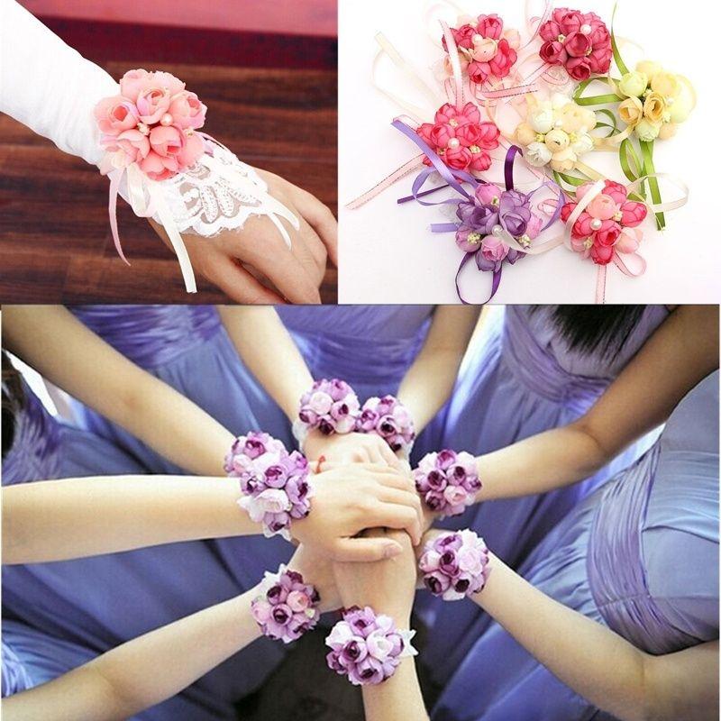 Wholesale- 1 pcs Delicate Wrist Corsage Bracelet Bridesmaid Sisters Hand Flowers Wedding Party Bridal Prom NEW