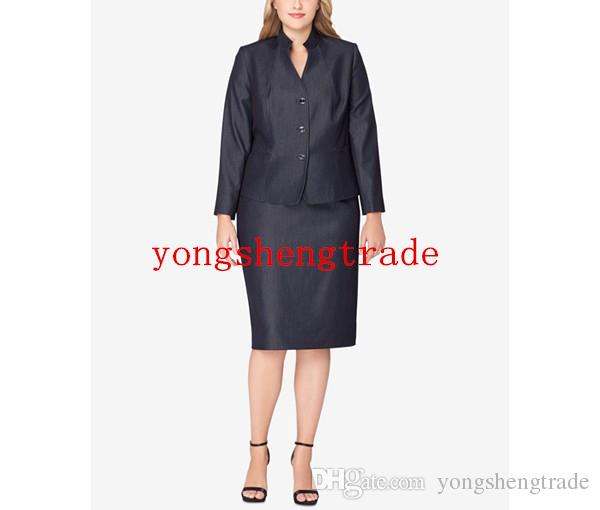 Plus Size Charocal Skirt Suit Custom Made Plus Size Women Suits Stand Collar