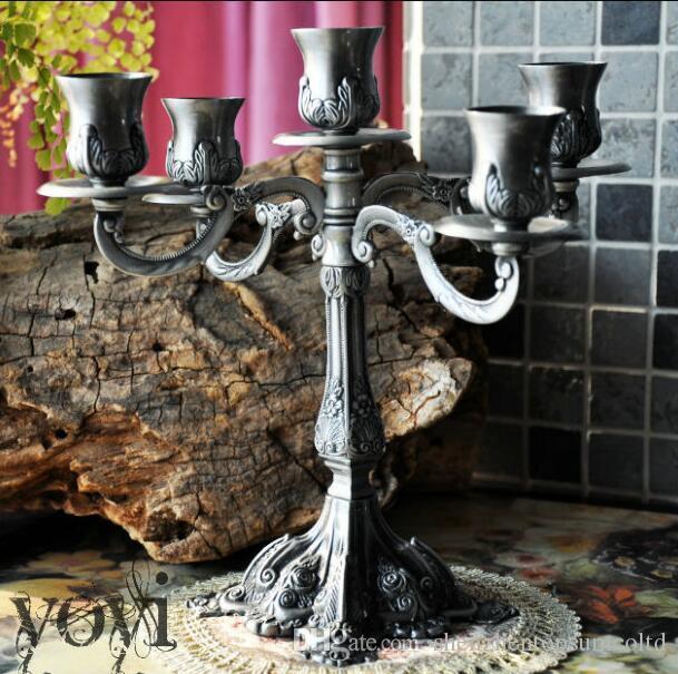 5 huvuden vintage tenn ljus bord dekoration möbler klassisk matbord mousse ljusstake