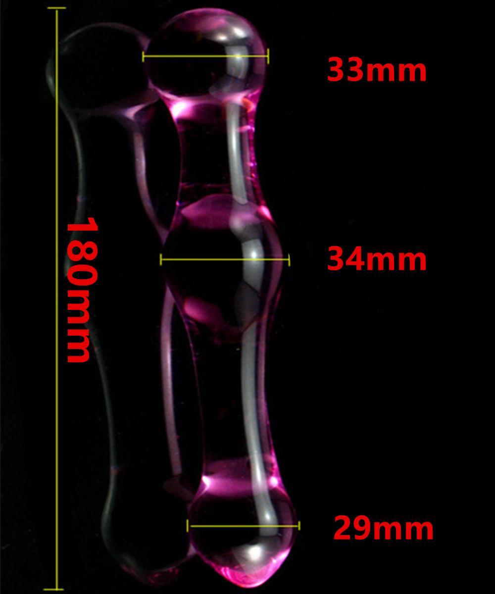 Różowy szklany odbyt penisa Penis Penis Koraliki analne Butt Plug w Gry dla dorosłych, Erotic Sex Zabawki dla kobiet i mężczyzn Gay - 18 * 3,4 cm 17905