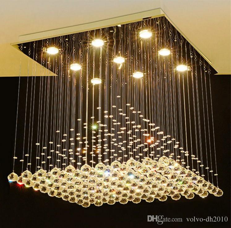 K9 Crystal Chandelier Modern Lustre Hotel Lámparas LED de cristal Sala de estar Lobby Gota de lluvia Candelabros de cristal LLFA