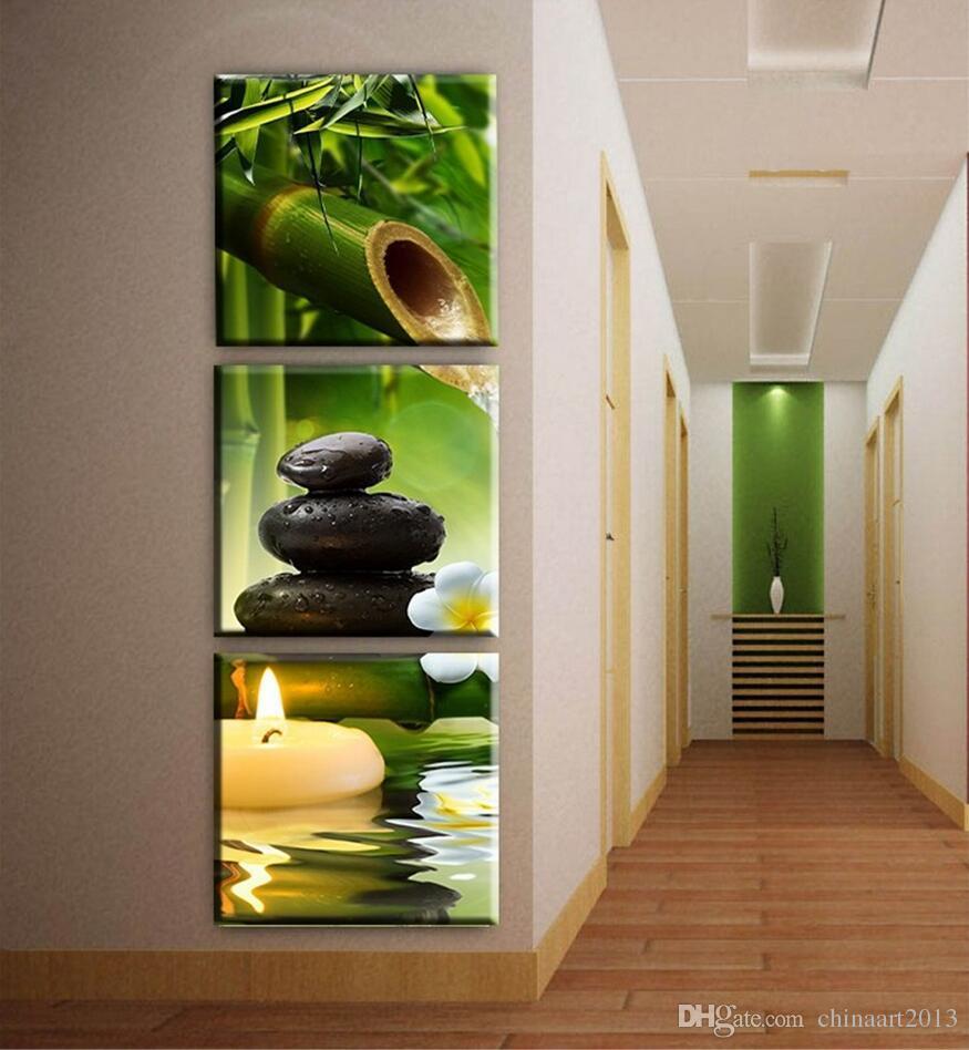 3 adet / takım bambu mum tuval sanat modern Baskı yağlıboya duvar resimleri için oturma odası dekorasyon resimleri koridor dekor çerçev ...