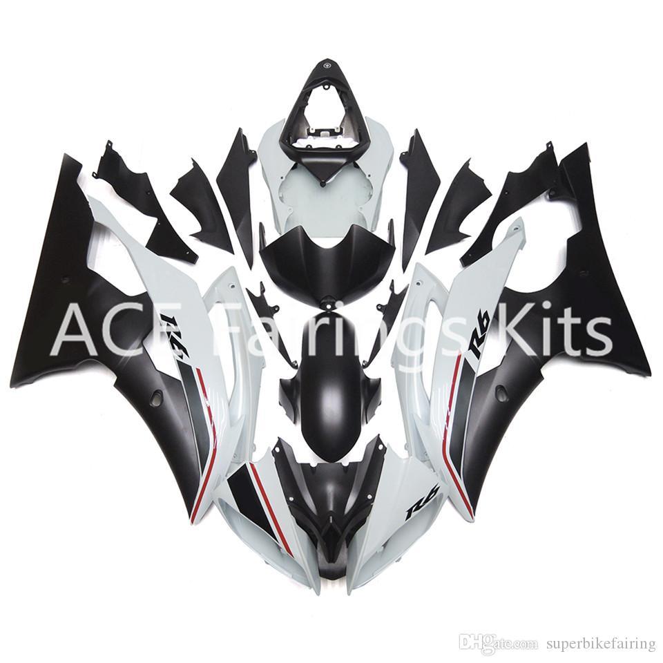 3 carenature nuove per Yamaha YZF-R6 YZF600 R6 08 15 R6 2008-2015 Kit di carenature moto in plastica ABS per carrozzeria nero stile bianco freddo