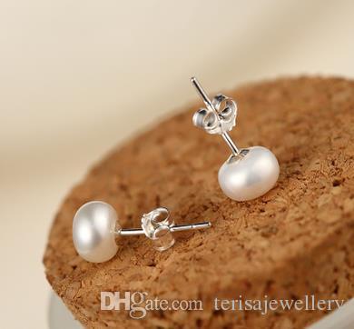 Orecchini di perle affascinanti Orecchini di perle d'acqua dolce naturali Gioielli in argento di modo