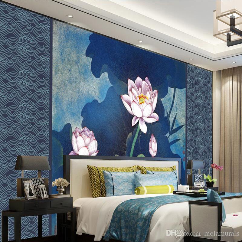 Acquista 3d Foto Murali Personalizzate Murales Muro Moderno Lotus Blu  Sfondo Muro Soggiorno Camera Da Letto TV Parete A $40.92 Dal Molamurals |  ...