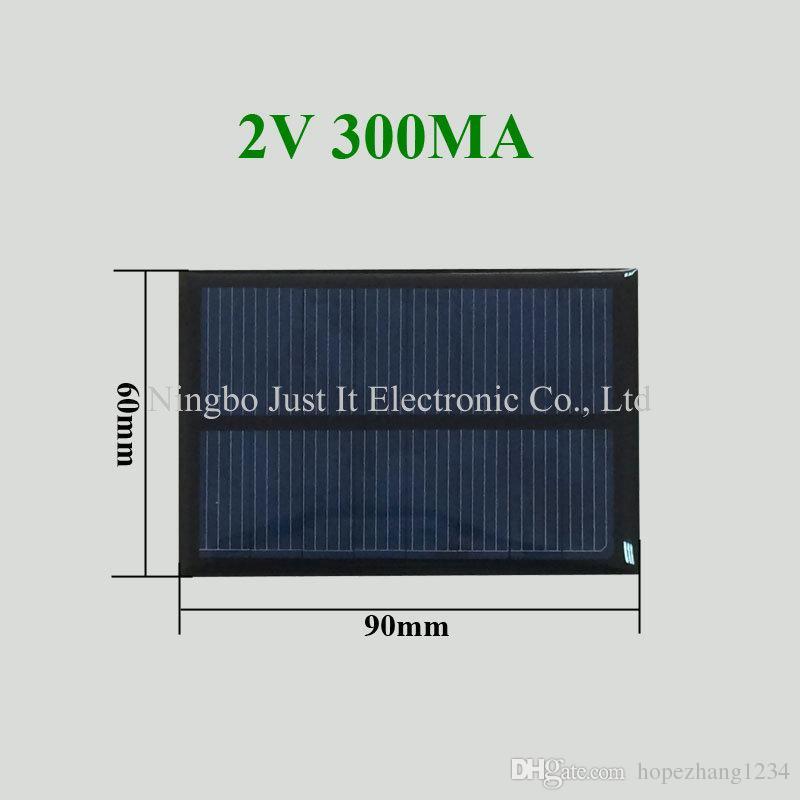 100pcs / lot راتنجات الايبوكسي الصغيرة للطاقة الشمسية لوحة 2V 300mA 90 * 60mm