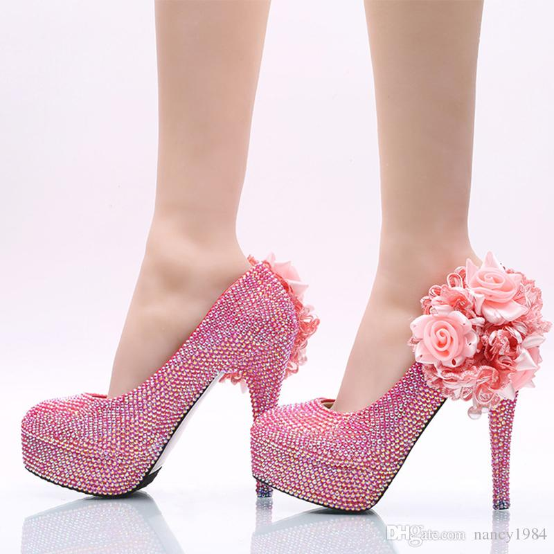 2019 New Arrived Gorgeous Women Dress High-Heel Pink AB Color Flower Crystal Wedding Party Shoes Handmade Banquet Bridal Pumps Size 12