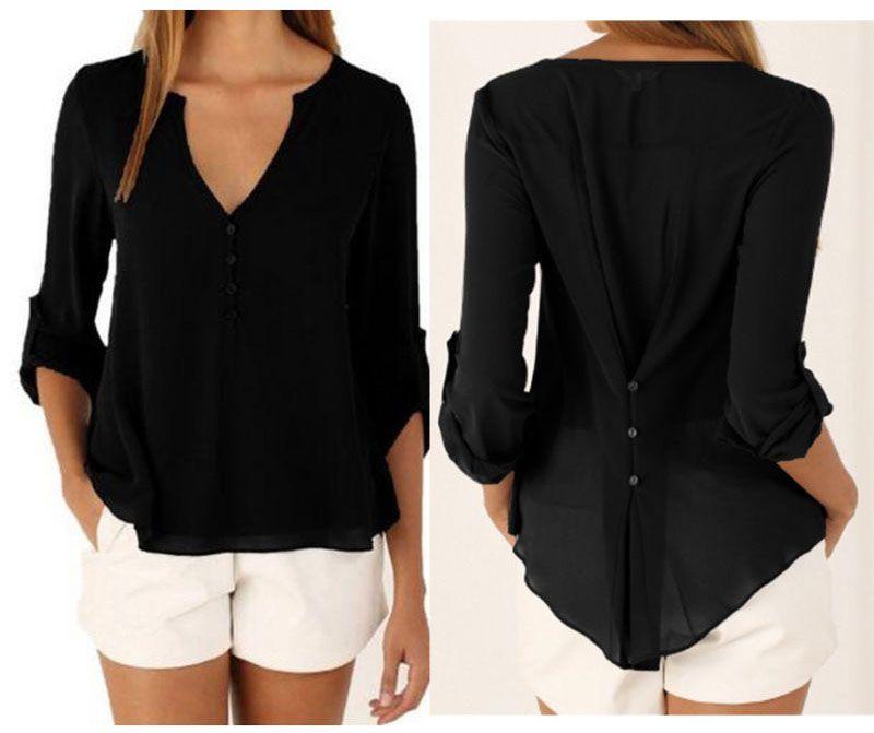Yeni Moda Casual Seksi Derin V Yaka Düğme İnce Bel Uzun Kollu Şifon Bluz Gömlek Üst