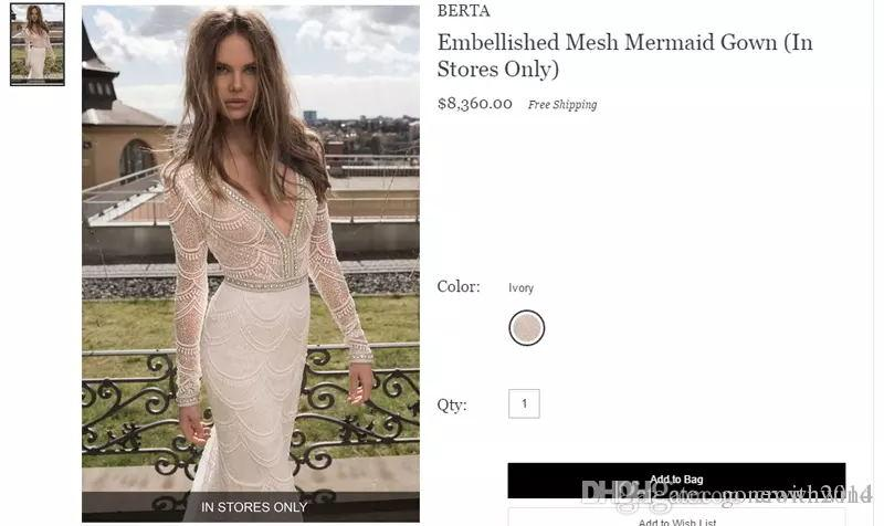 Großhandel Langarm Meerjungfrau Spitze Brautkleider 2017 Berta ...