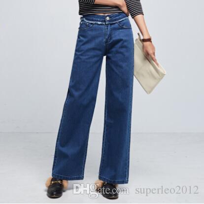 새로운 디자인 여성 캐주얼 청바지 데님 긴 바지 스트레이트 바지 와이드 다리 오픈 느슨한 청바지 XMY