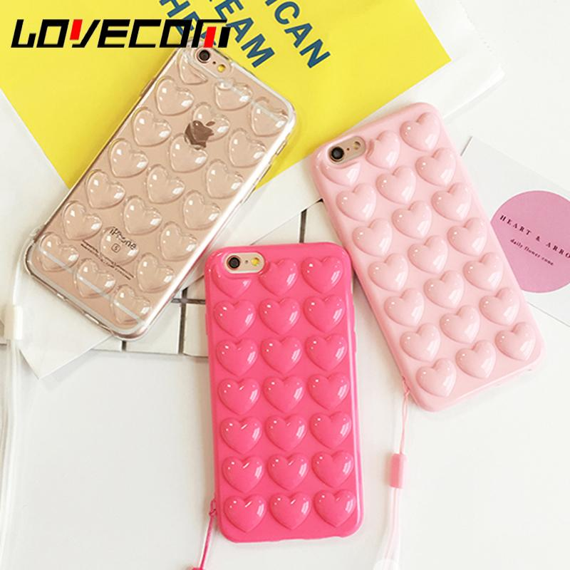 LOVECOM Coreano Love Heart Jelly Candy Cover posteriore in morbido silicone TPU con custodia per cordino per iPhone 6 6S 7 Plus Fundas Coque