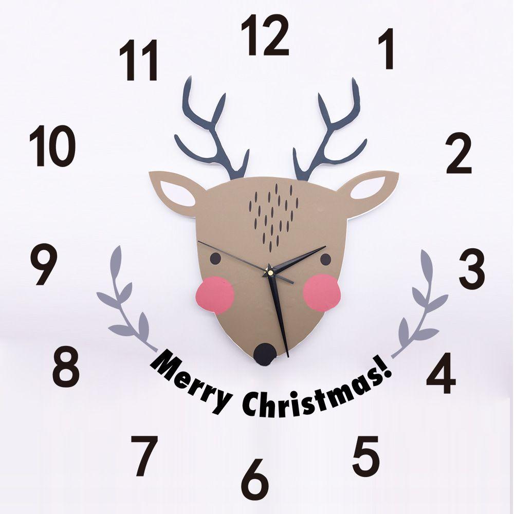 3D PVC Duvar Sticker Karikatür Noel Geyik için Kuvars Saat Çocuk Odası Festivali Dekorasyon Duvar Çıkartmaları Merry Christmas
