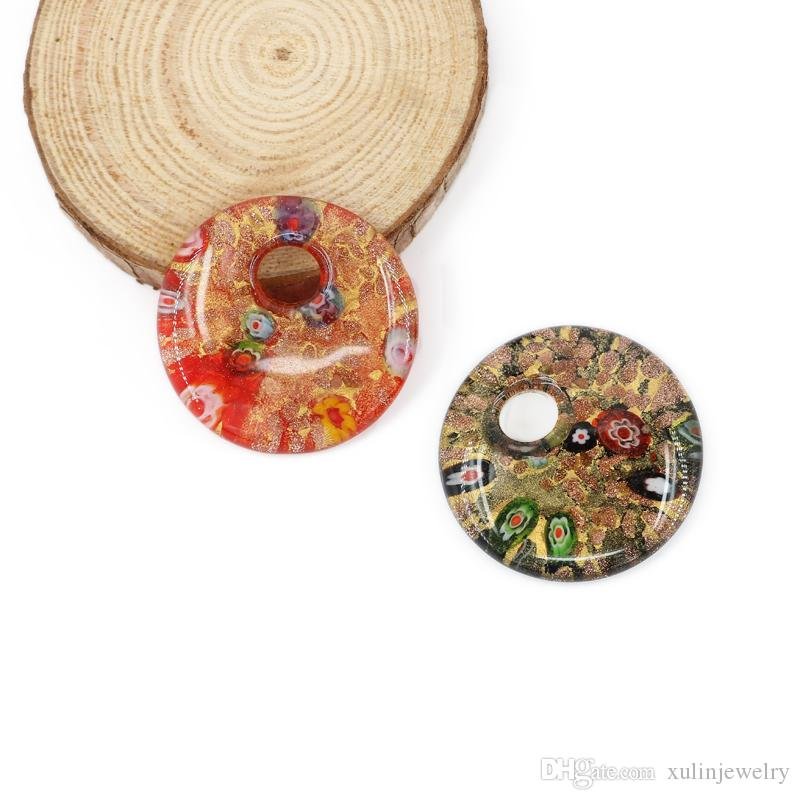 3D Millefiori Handmade Arts Glass Round Pendants With Gold Sand For Necklace Mix colors 12pcs/pack MC0020