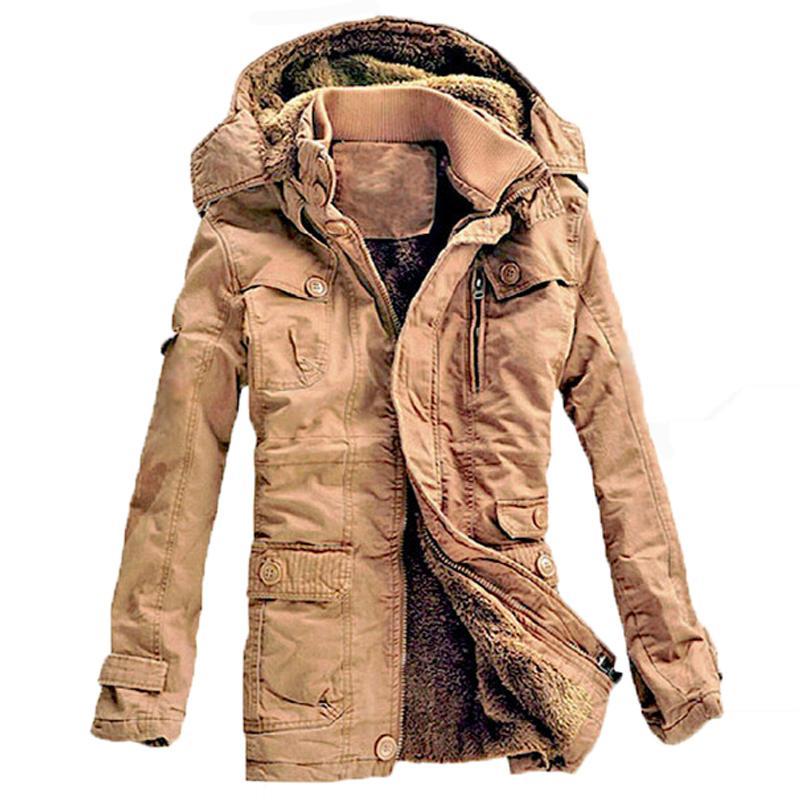 도매 - 겨울 재킷 남자 캐주얼 두꺼운 벨벳 따뜻한 재킷 파커 스 hombre 망 면화 윈드 브레이커 군대 후드 재킷 긴 트렌치 코트