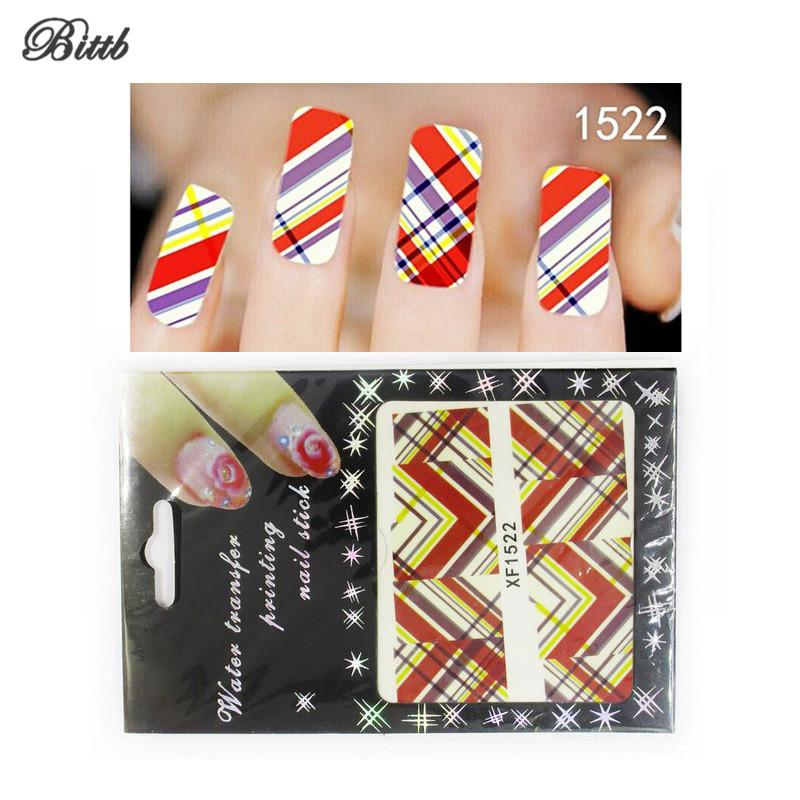 Bittb Nail Art Sticker Diagonal Twill Pattern DIY Make Up Decoration Print Paste Manicure Makeup Tool Nail Foil Nails Decal