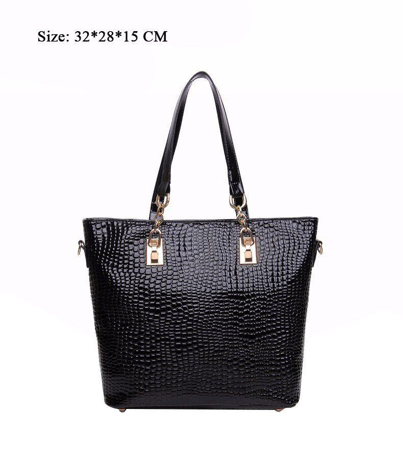 Wholesale-6 PCS Set Women Bag Crocodile Pattern Composite Bag Stone Women  Messenger Bags Shoulder Handbag Purse Wallet PU Leather Handbags bb1a942c8e
