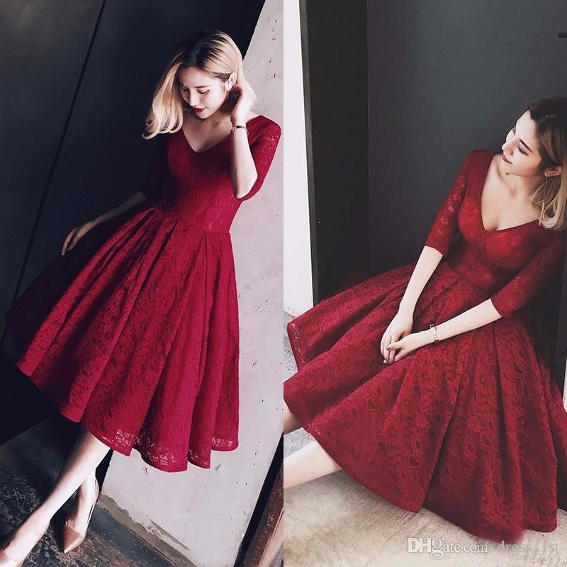 Vintage 2017 Dark Red Lace Half Sleeve Tea Length Prom Dresses Cheap V Neck Short Event Party Gowns Custom Made China EN12158