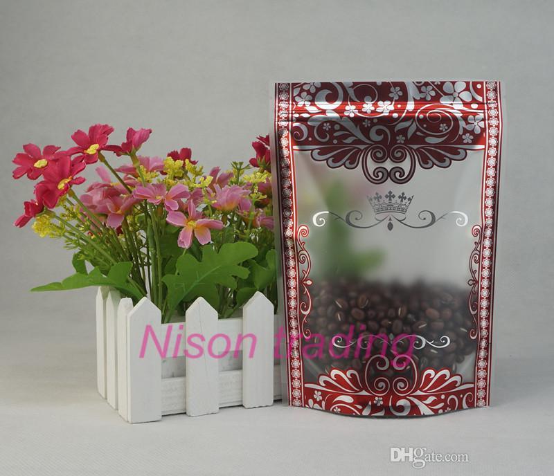 sacchetto a chiusura lampo 10x15cm 100pcs / lot in piedi opaca trasparente di plastica con la stampa fiore d'argento, soia sacchetto di fagioli bordo rosso, cioccolato Doypack