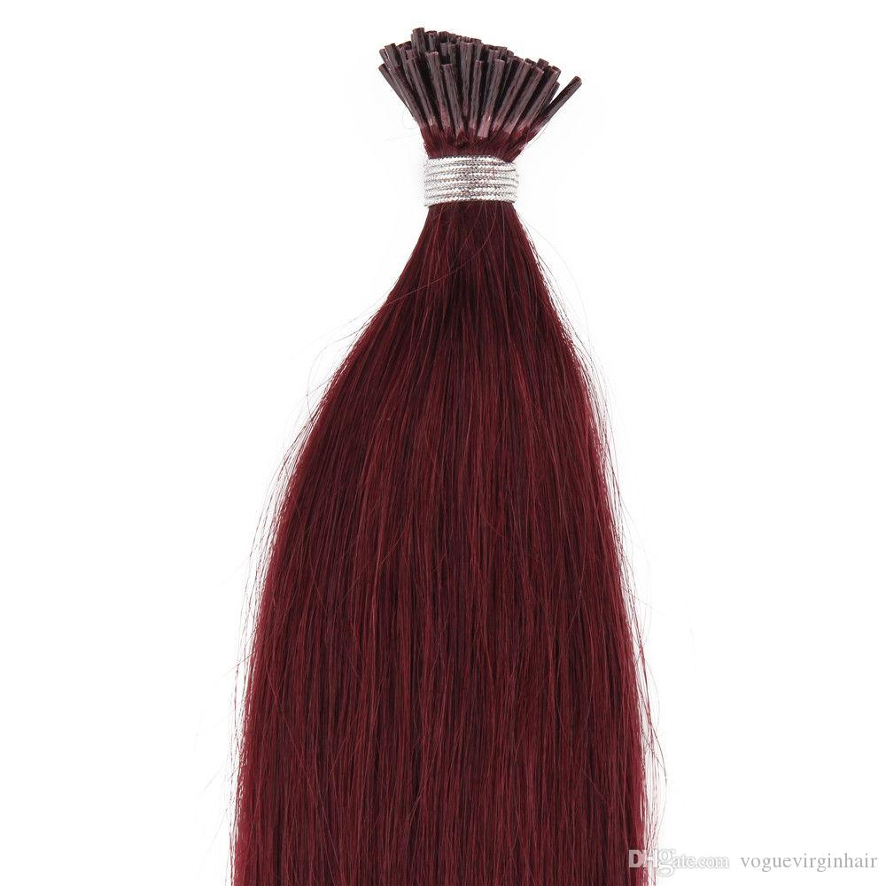 """I Tip Hair Extensions 18"""" 20"""" Natural Hair Extensions 1g/s 100g/pc Stick Indian Remy Human Hair Extension"""