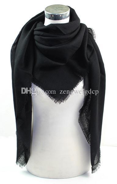 İpek Yün Tüm Katı Siyah Lady 140cm Kare Şal Kadınlar Wrap Eşarp Müslüman Hicap