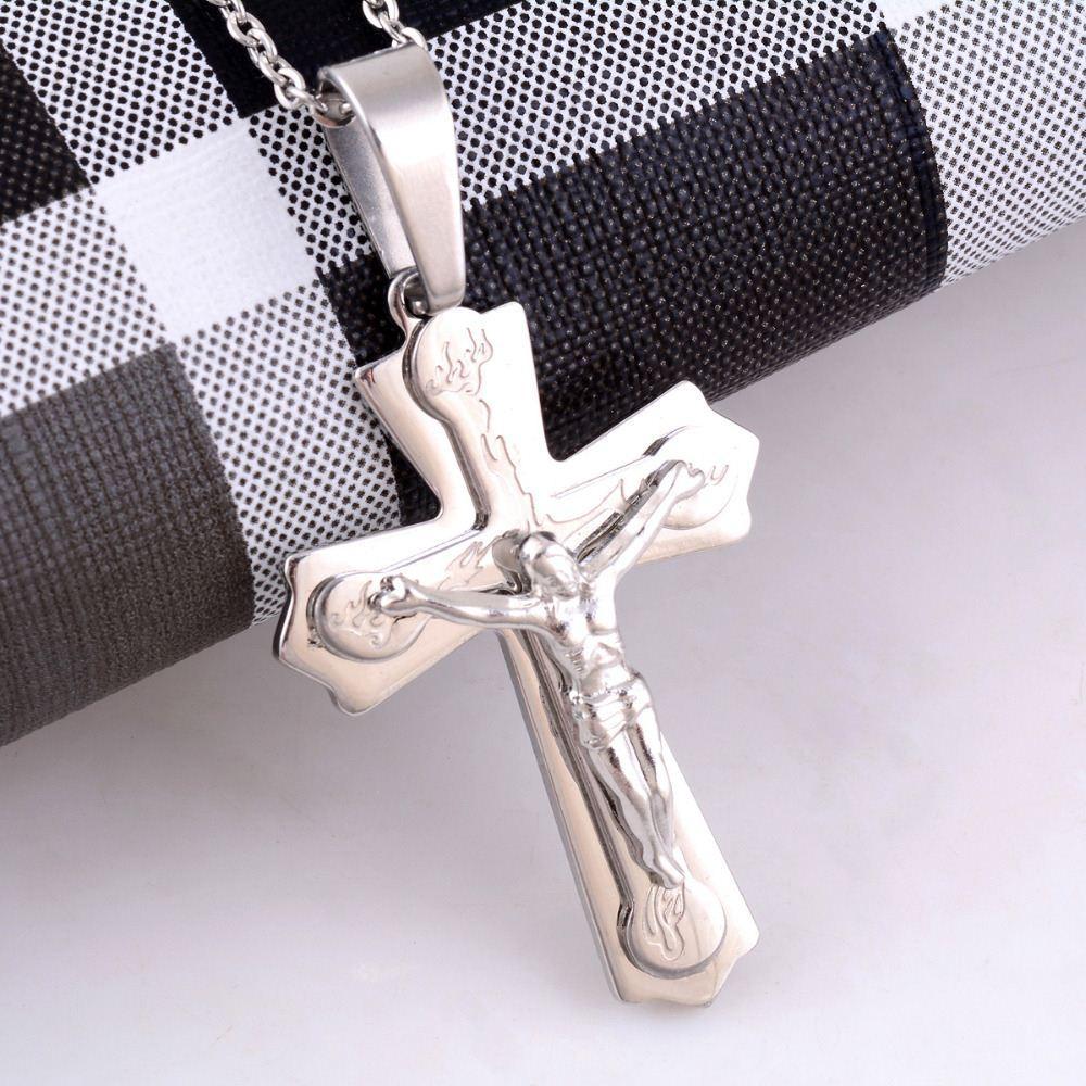 Gioiello in argento da uomo in acciaio inossidabile Gesù con croce tono 18