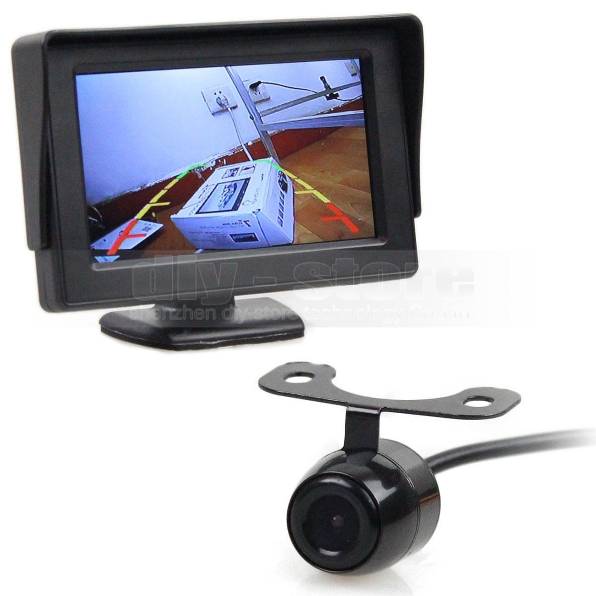 ماء HD عكس النسخ الاحتياطي كاميرا سيارة كاميرا الرؤية الخلفية + 4.3 بوصة وشاشة LCD الرؤية الخلفية وقوف السيارات مراقب نظام وقوف السيارات