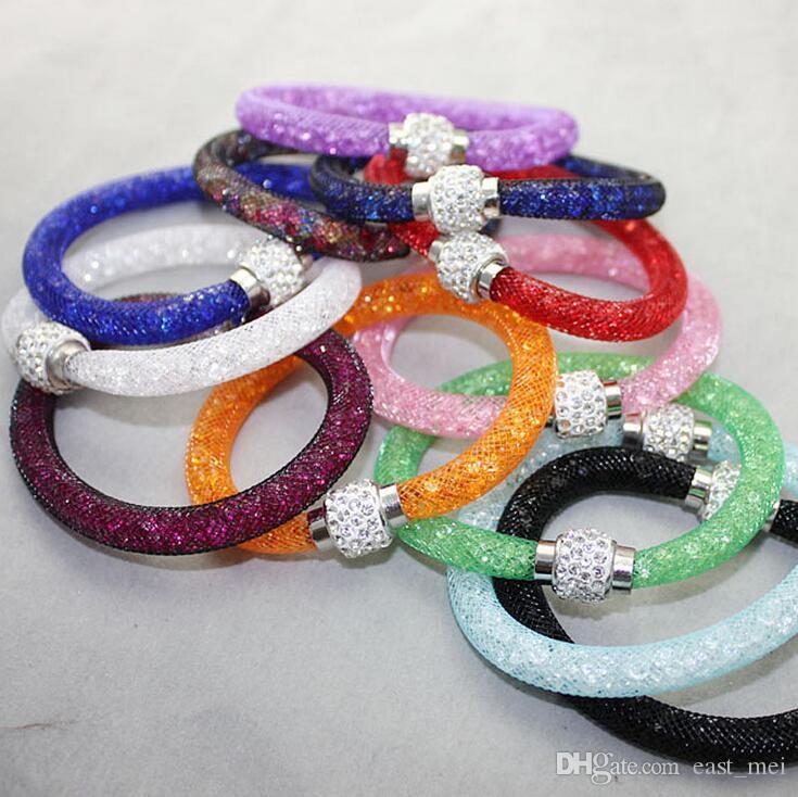 Brand new mesh tube crystal single layer magnetic button bracelet bracelet FB013 mix order 20 pieces a lot Beaded, Strands