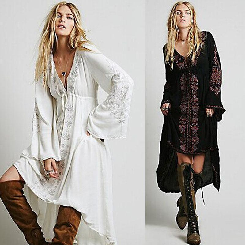 Wholesale- 2016 Long Dress sexy Women Vintage Ethnic Flower Embroidered Cotton Tunic Casual Long Dress Hippie Boho People Asymmetrical
