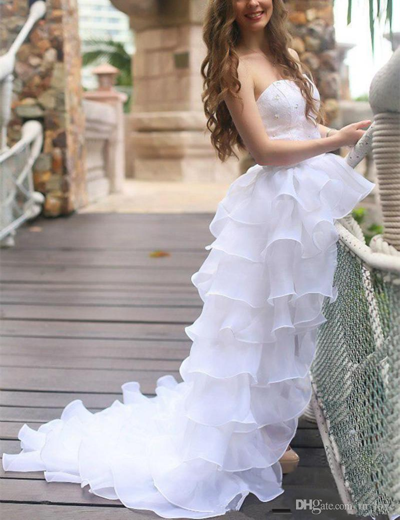 White High Low Wedding Dresses Short Front Long Back Beaded Lace Ruffles Organza Bridal Gowns Custom Size