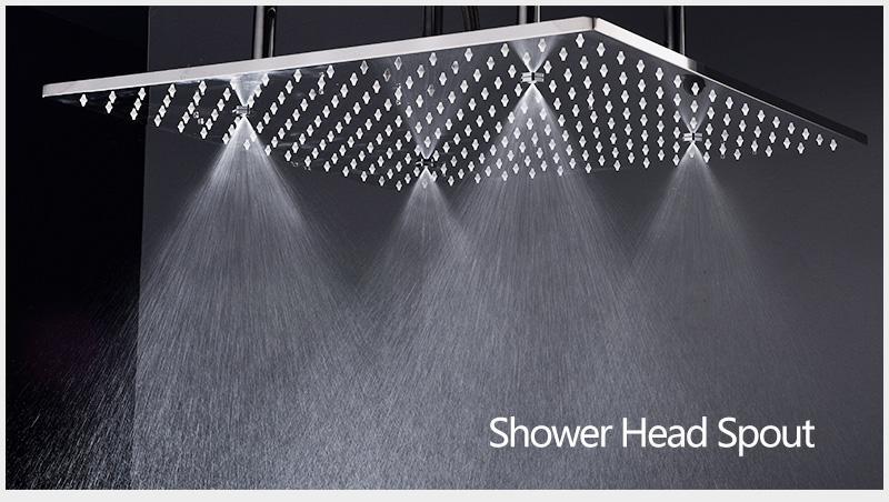 hm Bathroom Shower Head with 4 Ways SUS304 20inch Rain & Mist & Brass Slide Bar & Brass Spout & Brass Handheld Shower Set (6)