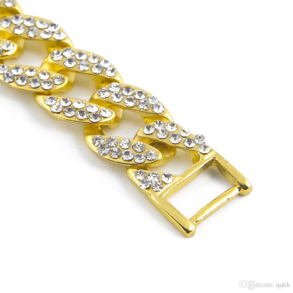 Brand Design Bijoux Trendy 18k Gold Plated Cuff Link Chain Bracelets  For Men And Women Rhinestone