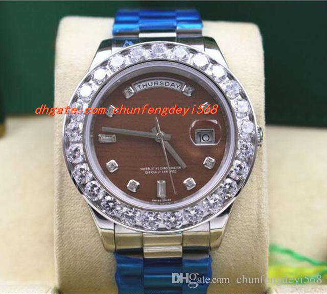 最高品質の高級腕時計メンズ18Kホワイトゴールド41mmチョコレートビジャーダイヤモンドウォッチ自動メンズウォッチ
