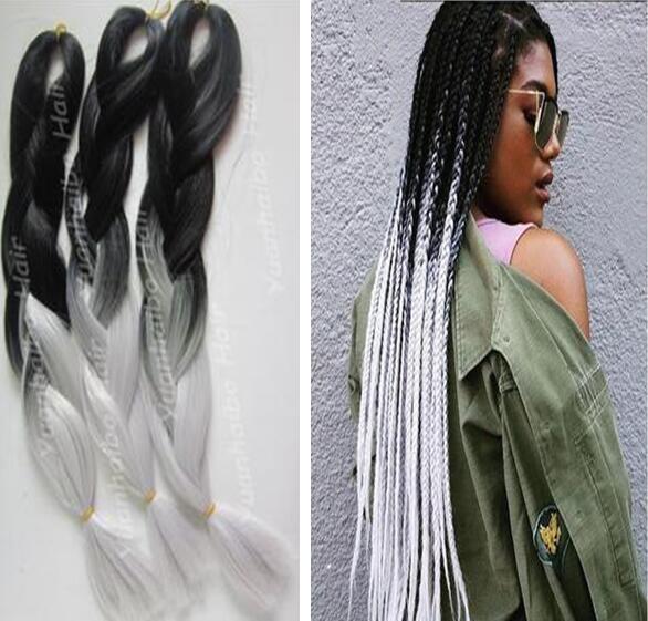 Estoque alta qualidade 20 polegadas preto prata dois tons tranças jumbo cabelo ombre trança sintética cabelo frete grátis