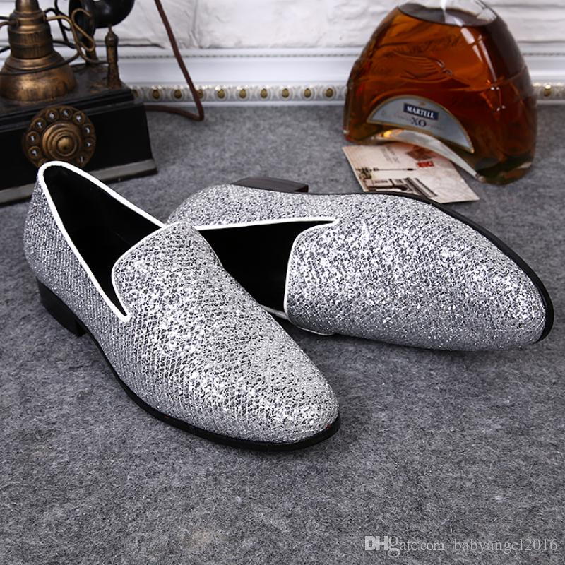 Christia Bella New Fashion Men Wedding Mocassini fatti a mano da uomo Scarpe in vera pelle argento Scarpe da sera Slip on Flats
