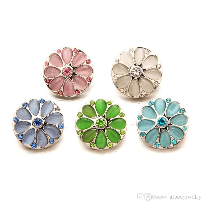 Mix Colors Cat Eye Daisy Noosa Chunks Metal Ginger 18mm Snap Buttons For Bracelet Jewelry Findings